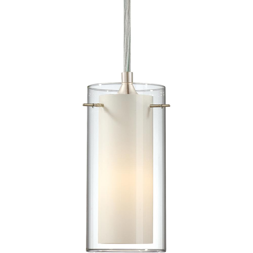 Volume lighting esprit 1 light brushed nickel mini hanging pendant clear glass outer and white cased glass inner cylinder shades 2451 33 the home