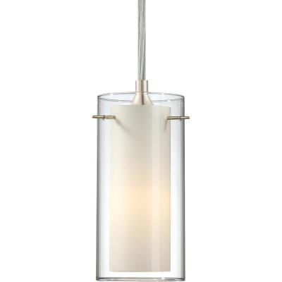 Esprit 1-Light Brushed Nickel Mini Hanging Pendant Clear Glass (Outer) and White Cased Glass (Inner) Cylinder Shades