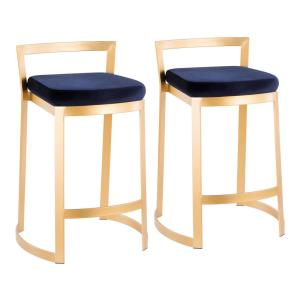 Fuji DLX 28 in. Gold Counter Stool with Blue Velvet Cushion (Set of 2)