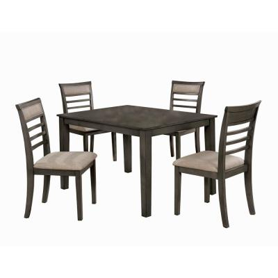 Fafnir Weathered Gray and Beige Transitional Style Dining Table Set (5-Piece)