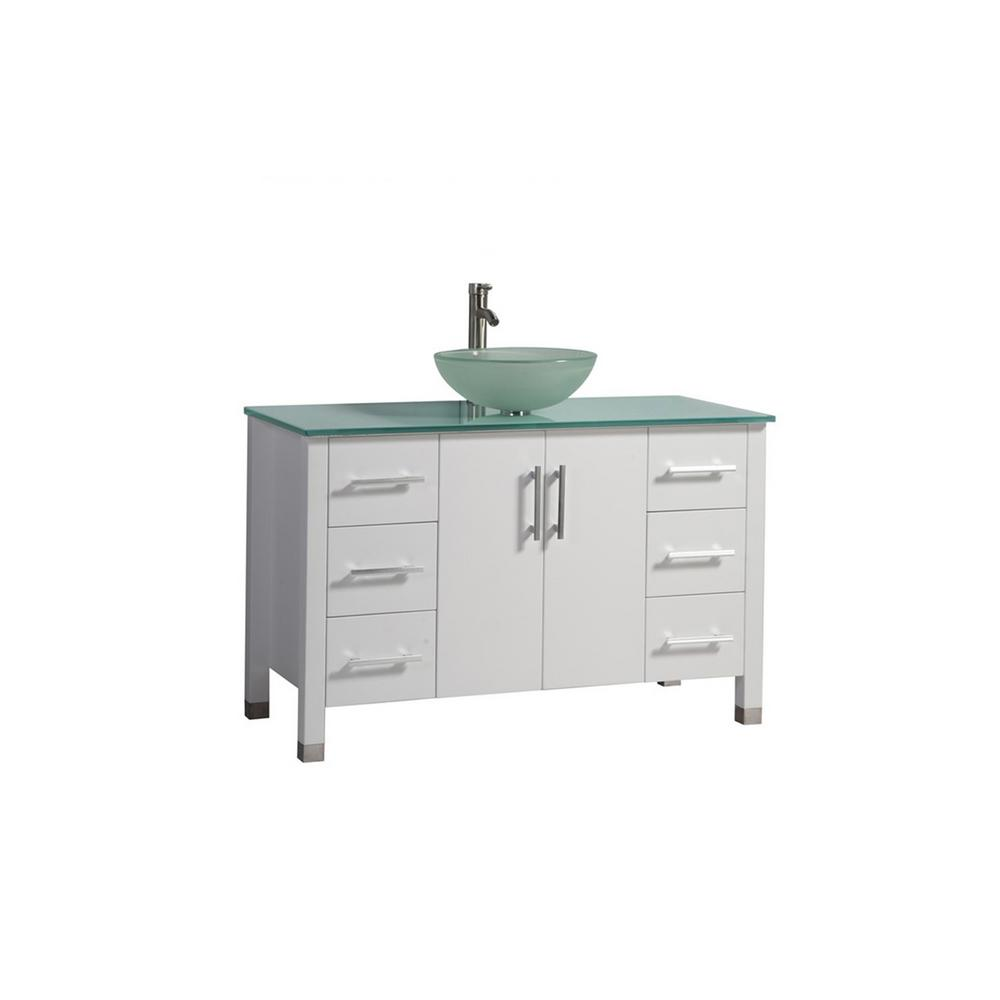 MTD Vanities Caen 48 in. W x 20 in. D x 36 in. H Bath Vanity in White with Aqua Tempered Glass Vanity Top with Frosted Glass Basin