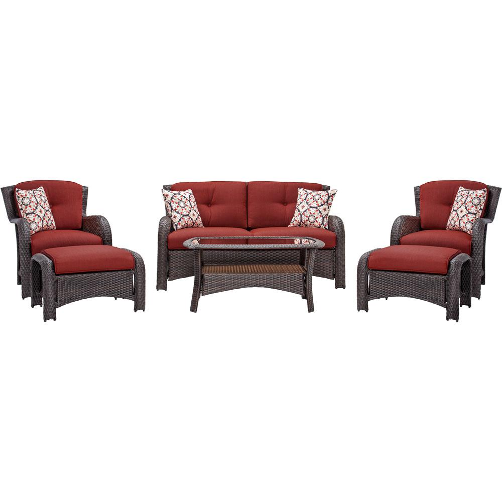 Attrayant Hanover Strathmere 6 Piece All Weather Wicker Patio Seating Set With  Crimson Red Cushions