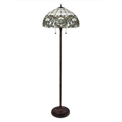 58 in. Tiffany White Shade Bronze Floor Lamp