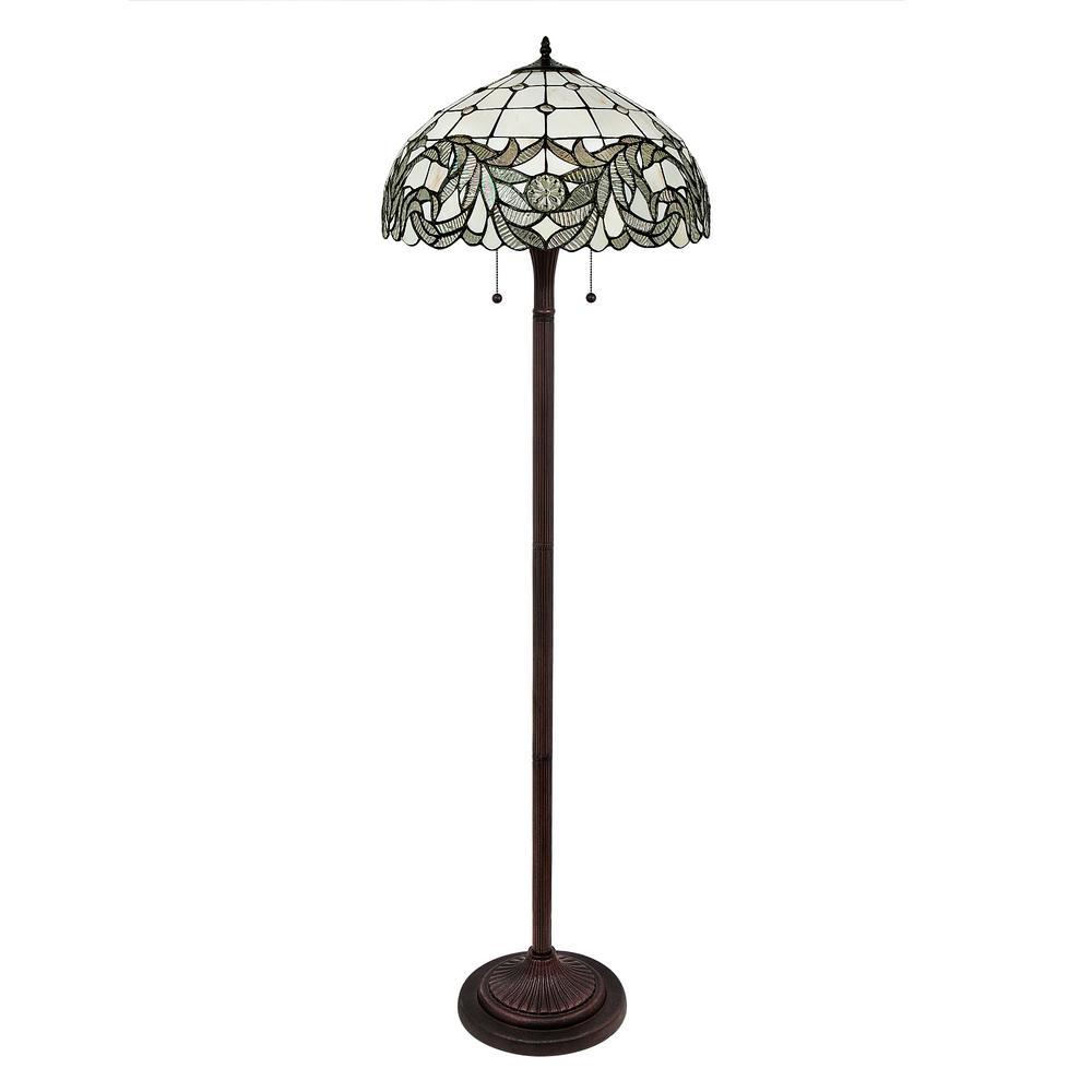 58 in. Tiffany White Shade Bronze Floor Lamp