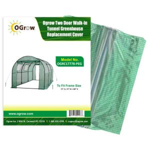 Ogrow 2 Door Walk-In Tunnel Greenhouse Replacement Cover - To Fit Frame Size 15 ft. x 6... by Ogrow
