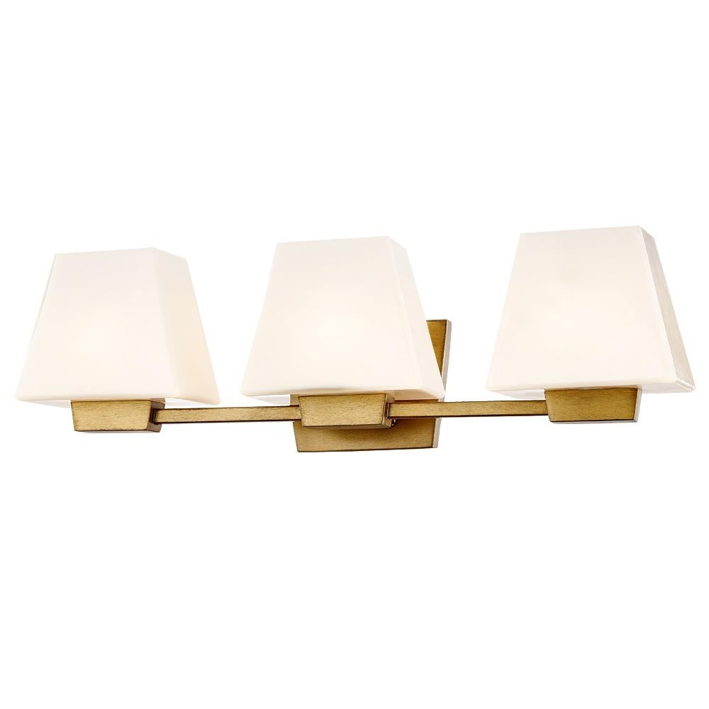 Loire 3-Light Antique Gold Wall Sconce with Glass Shade