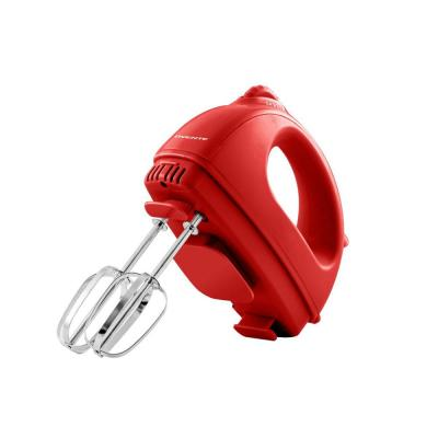 5-Speed Red Portable Electric Hand Mixer with 2 Chrome Beater Attachments and Snap-on Storage Container
