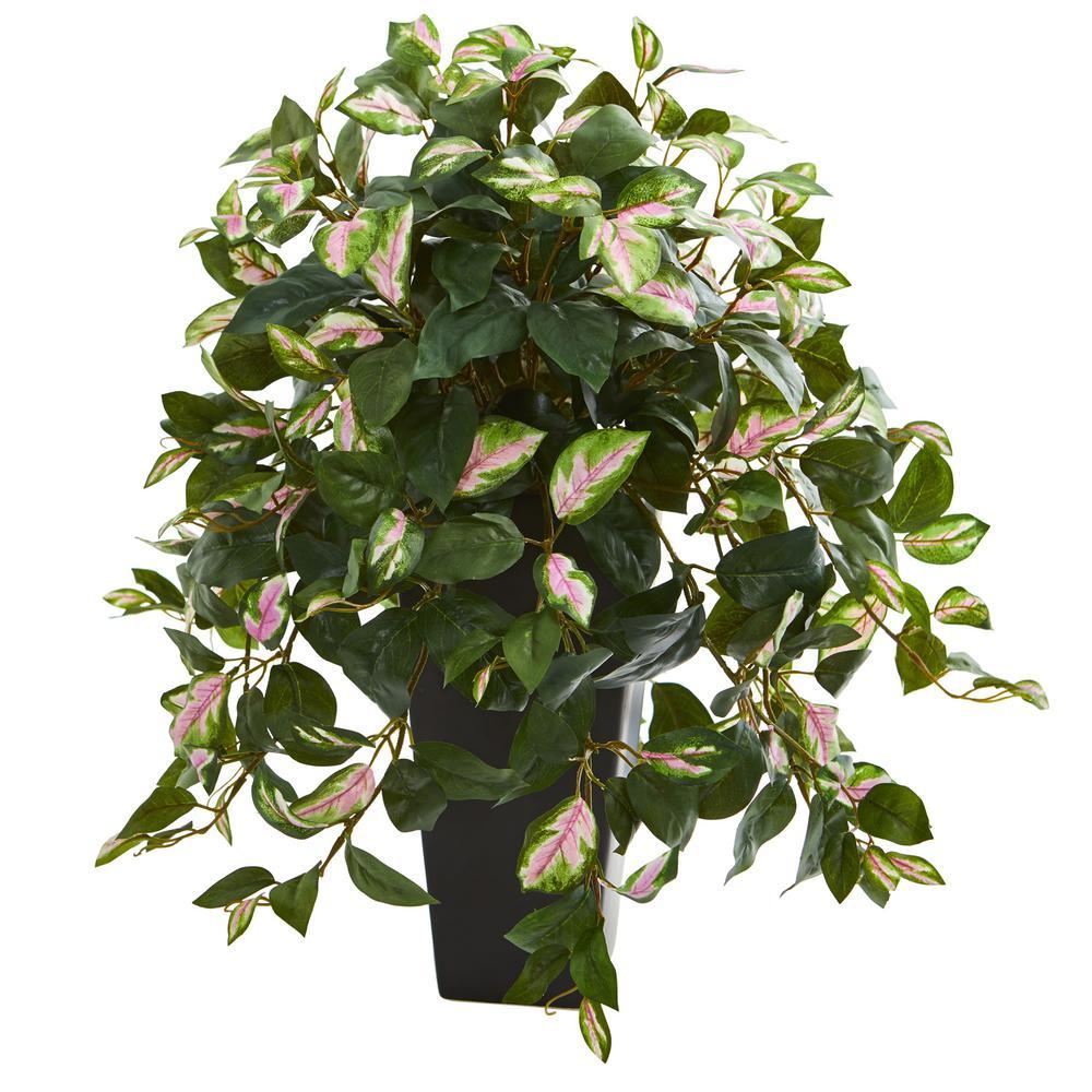 Indoor Hoya Artificial Plant in Black Vase