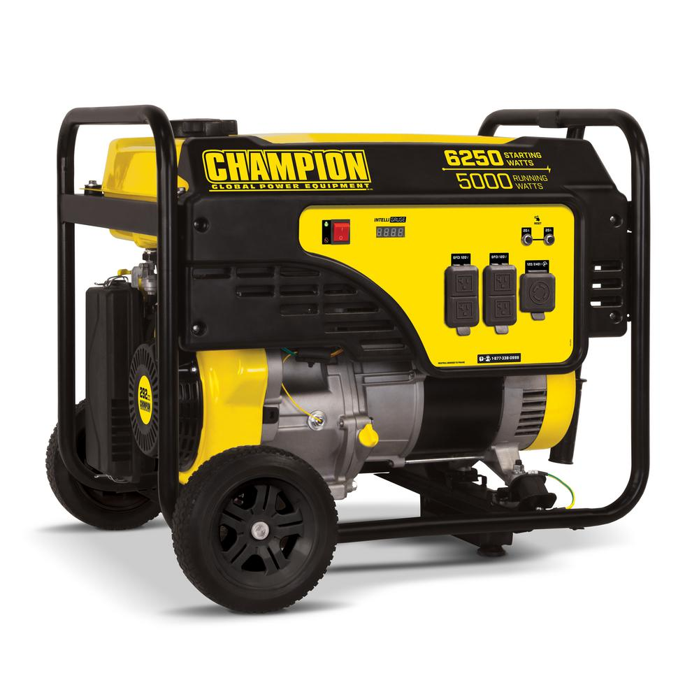 5000-Watt Gasoline Powered Recoil Start Portable Generator with Champion 292cc