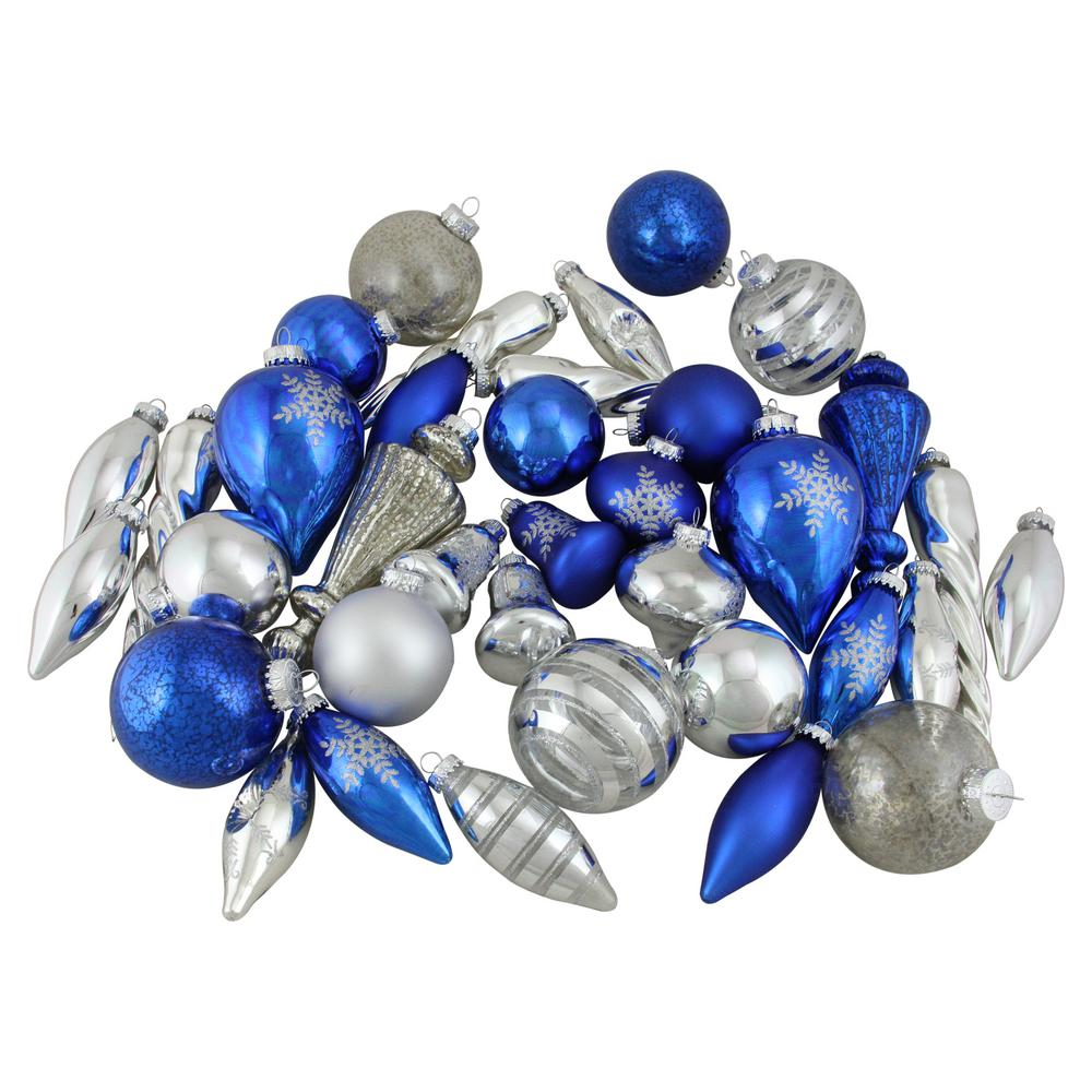 Blue and Silver Collection Asymmetrical Christmas Ornament Set (36-Piece)