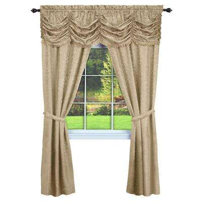 Semi-Opaque Panache Tan Window in A Bag Curtain - 55 in. W x 84 in. L (5-Piece Set) (Price Varies by Size)