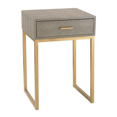 Gray and Gold Storage Side Table