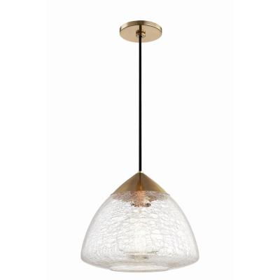 Maya 1-Light 12 in. W Aged Brass Pendant with Clear Crackle Glass Shade