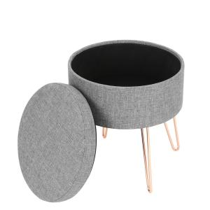 Admirable Poly And Bark Hattie Gray Small Round Storage Stool Hd 362 Short Links Chair Design For Home Short Linksinfo