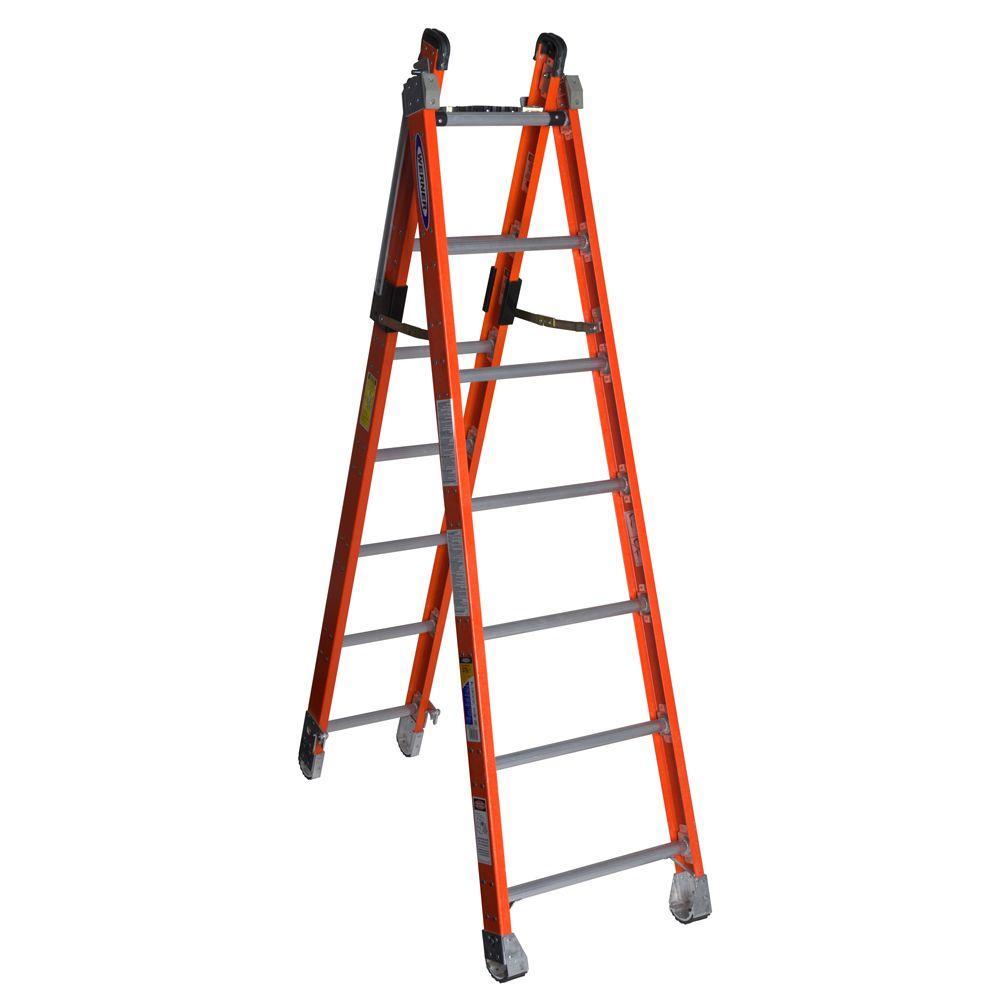 14 Aluminum Extension Ladder : Ft fiberglass combination multi position ladder with