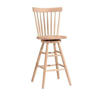 30 in. Unfinished Wood Swivel Bar Stool