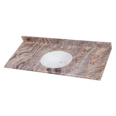 49 in. W x 22 in. D Stone Effects Single Sink Vanity Top in Cold Fusion
