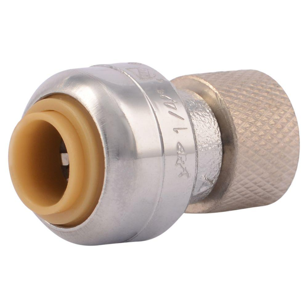 SharkBite 1/4 in. (3/8 in. O.D.) Push-to-Connect x 3/8 in. Compression Chrome-Plated Brass Stop Valve Connector