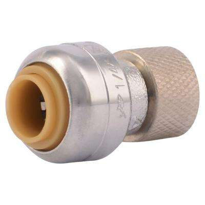 1/4 in. (3/8 in. O.D.) Chrome Plated Brass Push-to-Connect x 3/8 in. Compression Stop Valve Connector