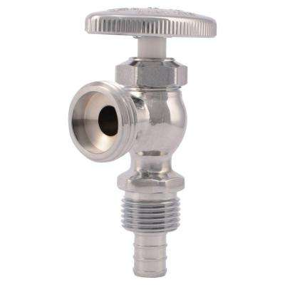 1/2 in. Chrome-Plated Brass PEX Brass Barb x 3/4 in. Machine Hose Thread Angle Stop Valve