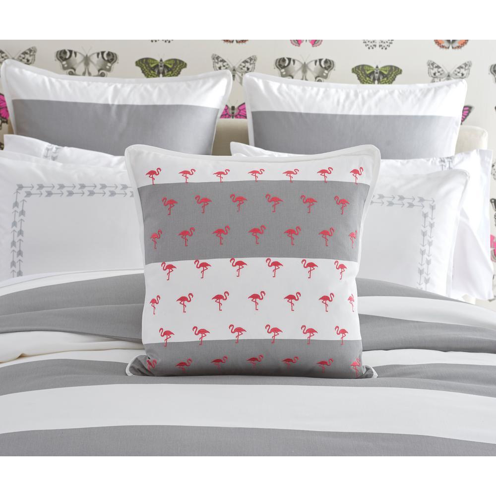Cabana Stripe Embroidered Flamingos Toss Pillow