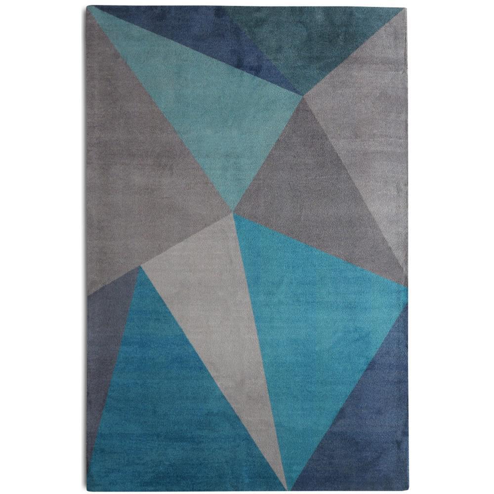 Midcentury Modern Rug: Rugsmith Facet Mid-Century Modern Geometric Blue 5 Ft. X 7