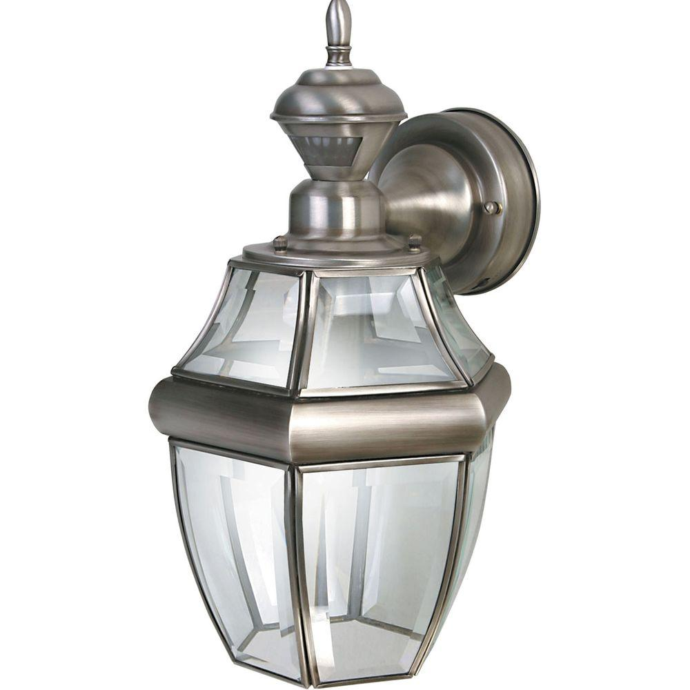 Heath Zenith 150 Degree Hanging Carriage Motion Sensing Decorative Lantern - Silver