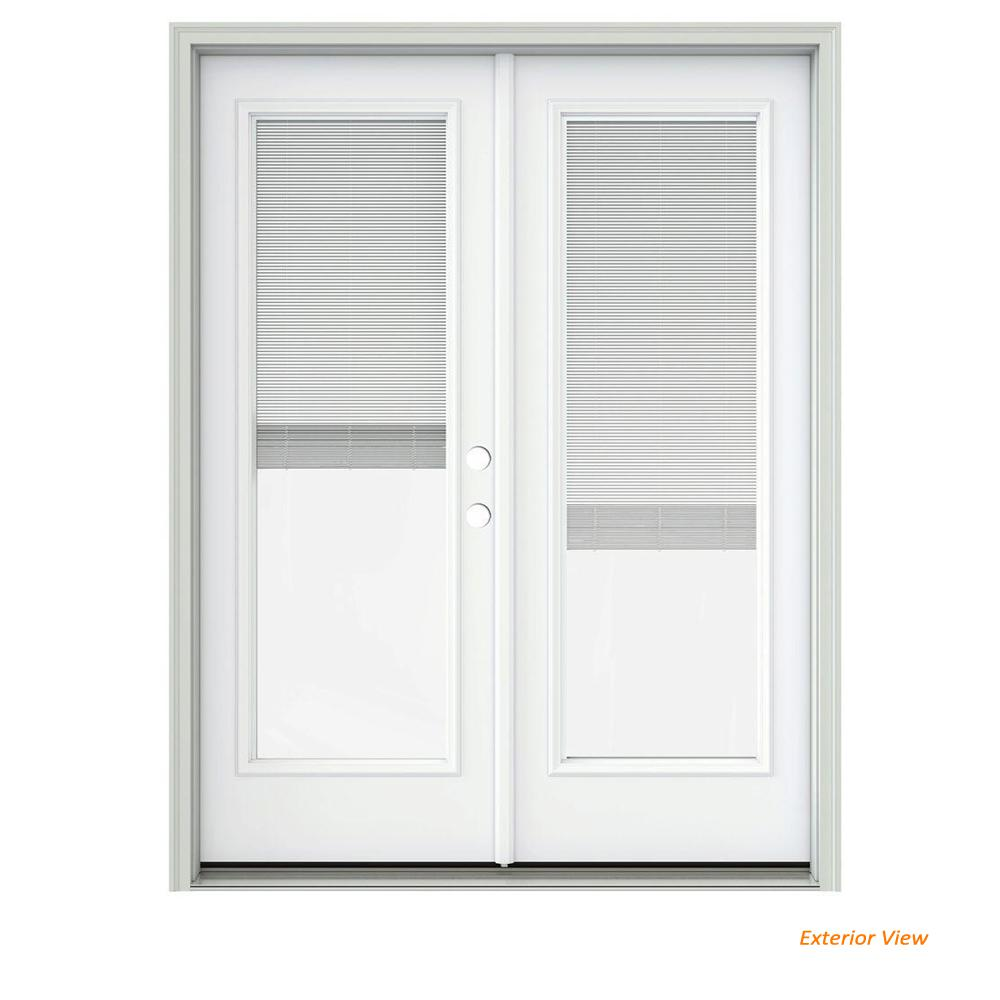 Jeld Wen 60 In X 80 In White Painted Steel Left Hand Inswing Full