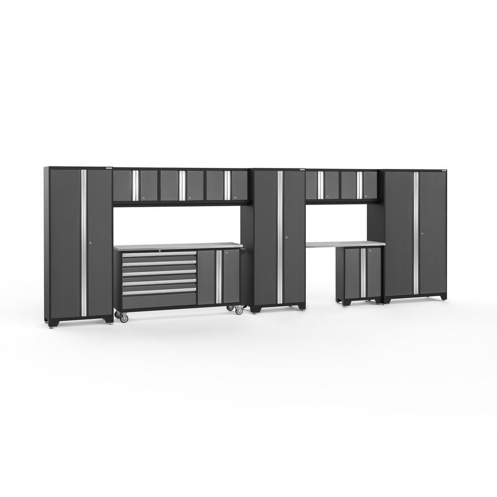 Bold 3.0 77.25 in. H x 222 in. W x 18 in. D 24-Gauge Welded Steel Garage Cabinet Set in Gray (11-Piece)