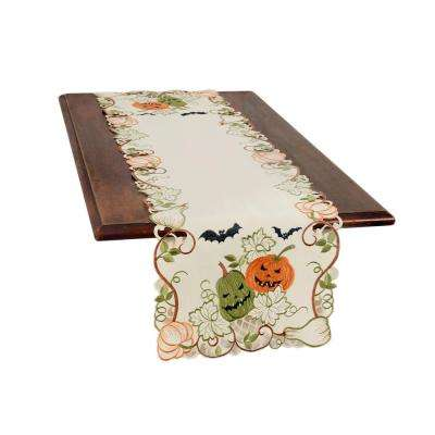 0.1 in. H x 15 in. W x 70 in. D Halloween Jack-O-Lanterns Embroidered Cutwork Table Runner