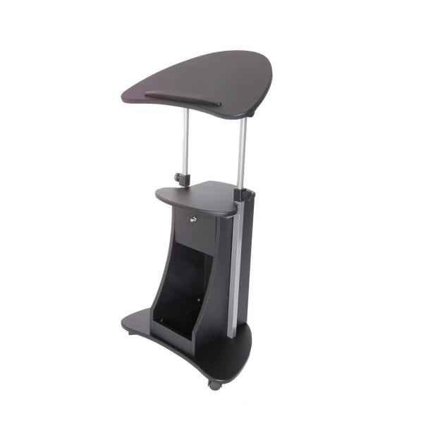 Techni Mobili Black Sit To Stand Rolling Adjustable Laptop