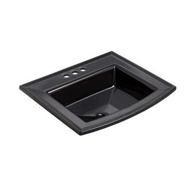 Archer Drop-In Vitreous China Bathroom Sink in Black with Overflow Drain