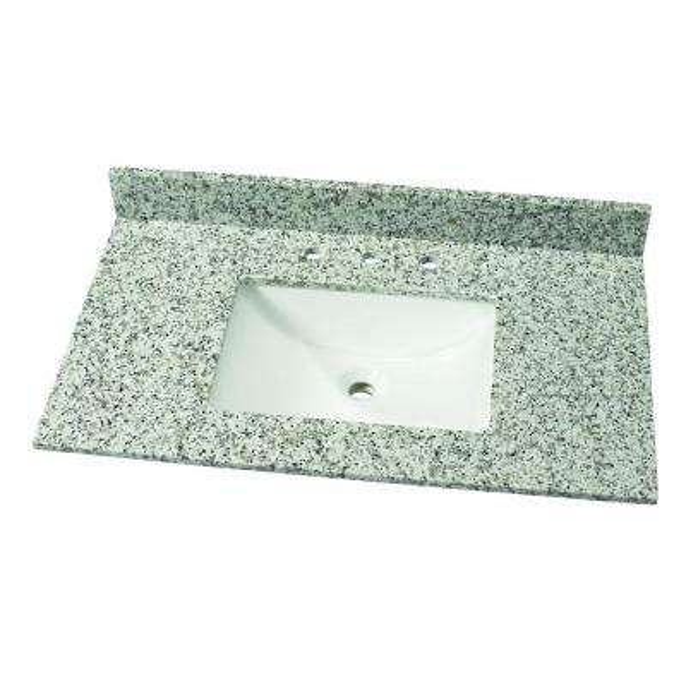 37 in. W Granite Single Vanity Top in Blanco Taupe with White Basin