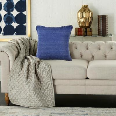 Solid Color Blue Embroidered Edges 24 in. x 24 in. Decorative Throw Pillow