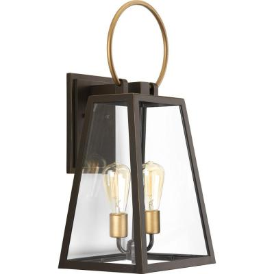 Barnett Collection 2-Light Antique Bronze 23.6 in. Outdoor Wall Lantern Sconce