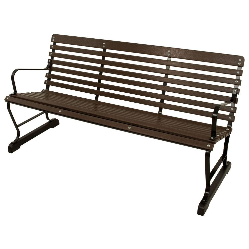 60 in. Black and Mahogany Patio Bench
