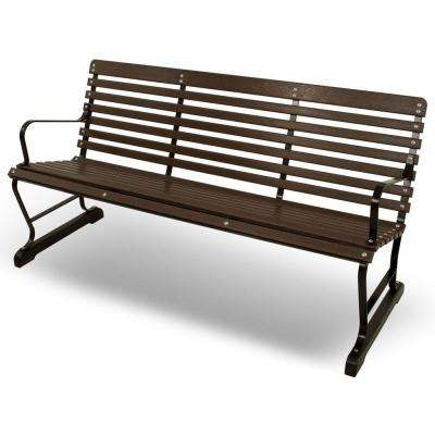 60 in. Black and Mahogany Plastic Outdoor Patio Bar Bench