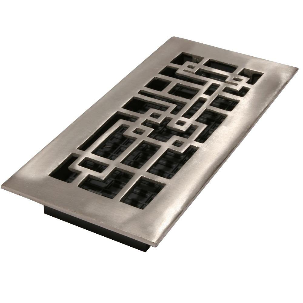 Decor Grates 2 in. x 12 in. Arts and Crafts Brushed Nickel Cast Aluminum Register