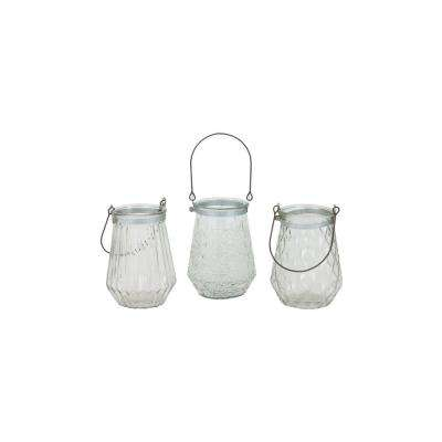 Clear Glass Candle Wire Handle Lanterns (Set of 3)