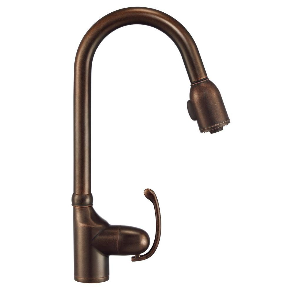 Danze Anu Single-Handle Pull-Down Sprayer Kitchen Faucet in Tumbled Bronze