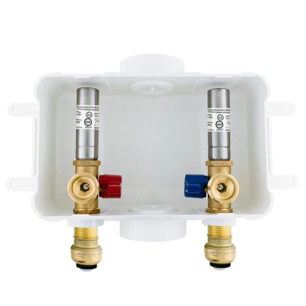 1/2 in. x 3/4 in. MHT Brass Washing Machine Outlet Box with Water Hammer with Push-to-Connect