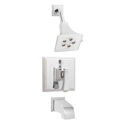 Rainier Pressure Balance Valve with Diverter and Trim in Shower Combination and Tub Spout in Polished Chrome