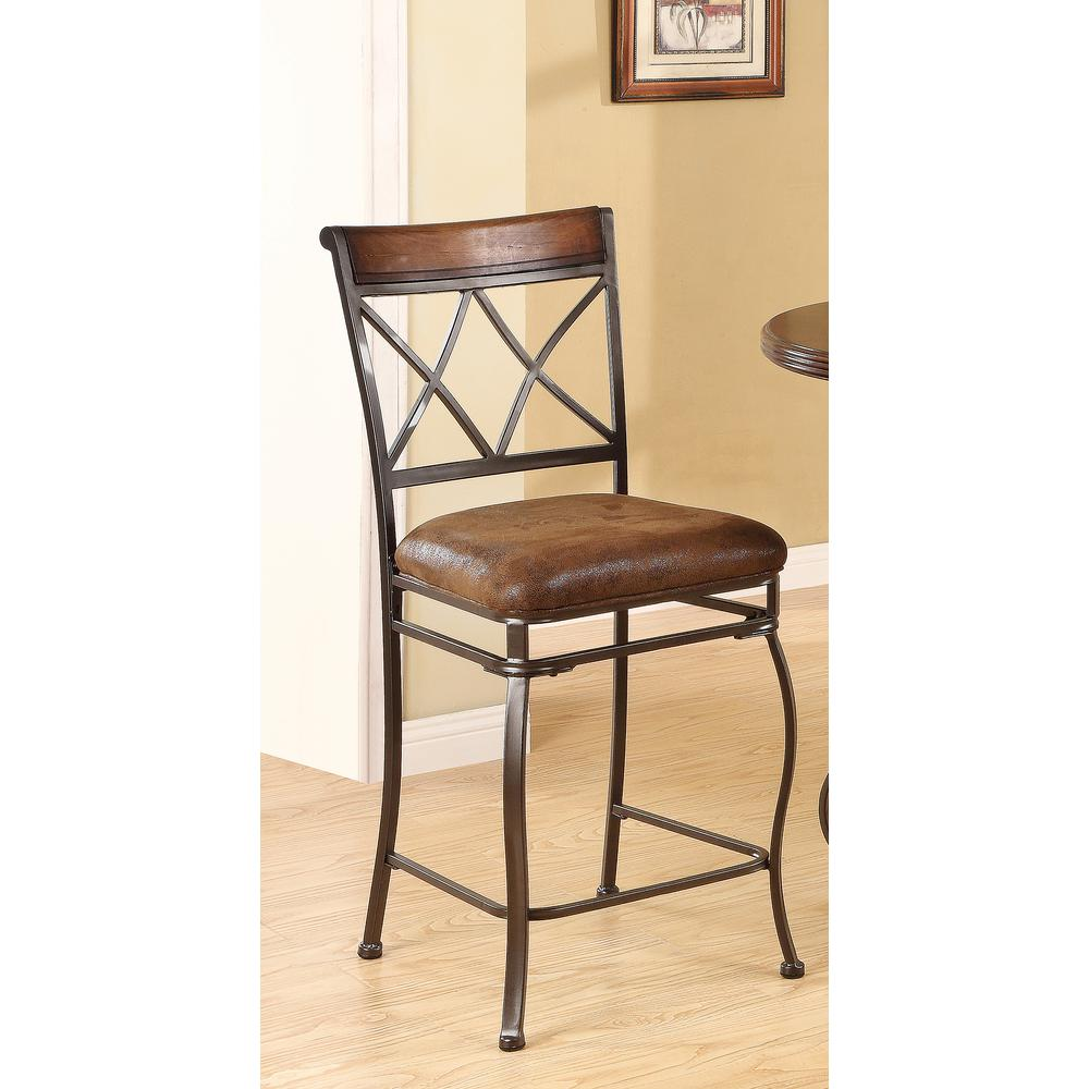 Acme Tavio 24 In Black Gold Brush Cushioned Bar Stool