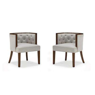 Avni Dark Walnut Upholstered Rounded Back Heathered Oatmeal Accent Chair(2-Pack)