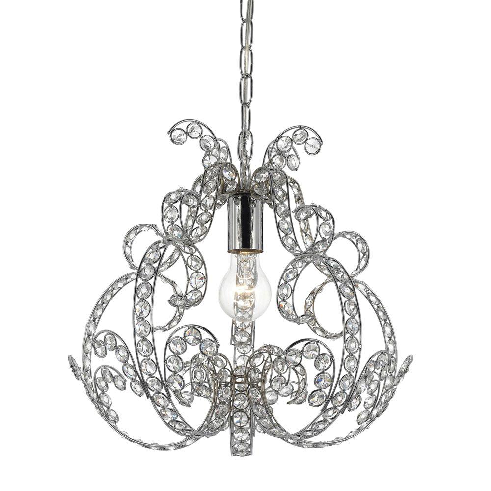 af lighting splendor 1-light chrome mini chandelier with clear glass accents-8478-1h