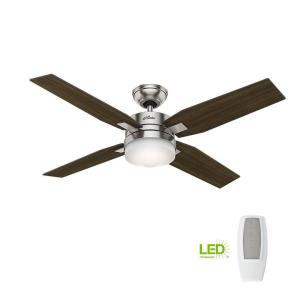Led Indoor Brushed Nickel Ceiling Fan With Light And Universal Remote