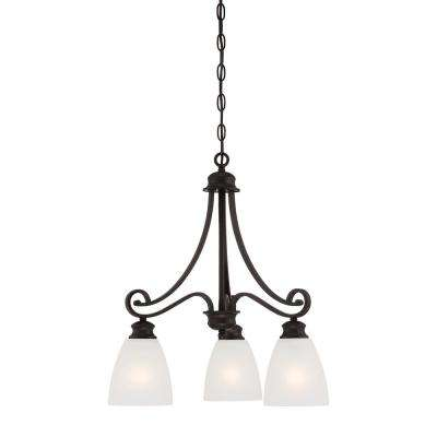 Haven 3-Light Espresso Chandelier With Etched Glass Shades
