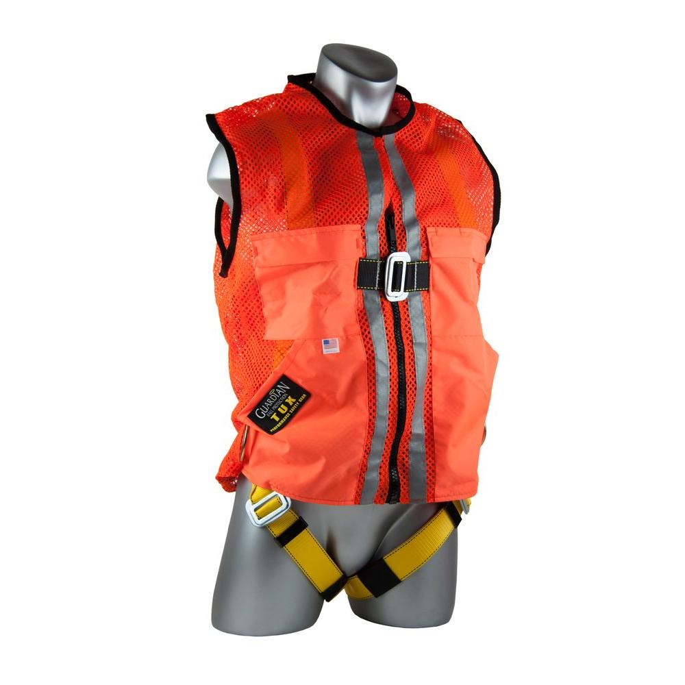 L Orange Mesh Construction Tux