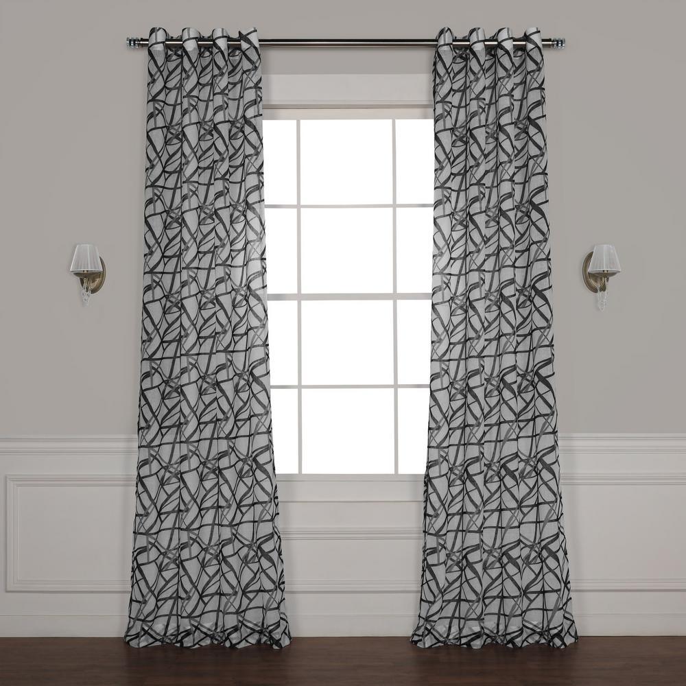 Matrix Black Grommet Printed Sheer Curtain - 50 in. W x 108 in. L