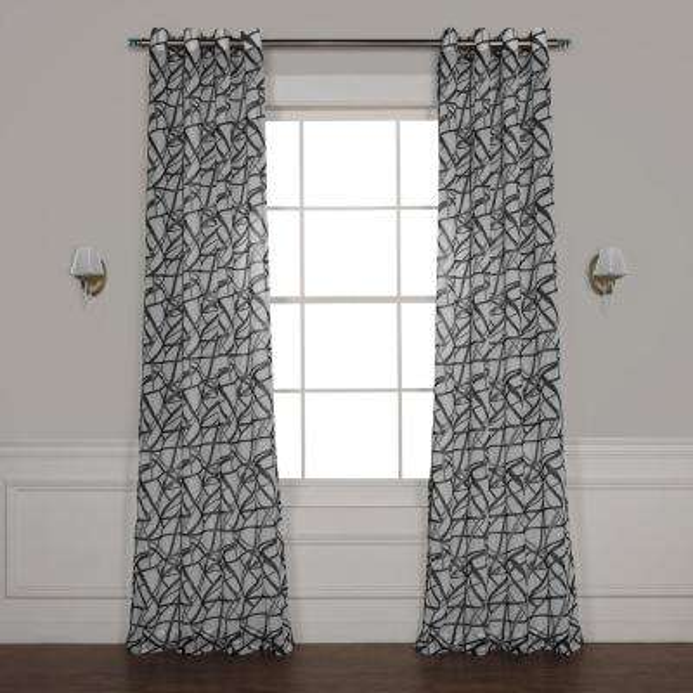Matrix Black Grommet Printed Sheer Curtain - 50 in. W x 120 in. L
